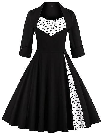 MERRYA Women s Retro 50s Style Plus Size Print Cocktail Party Swing Dress  (Black 1ff1c3b5cdb2