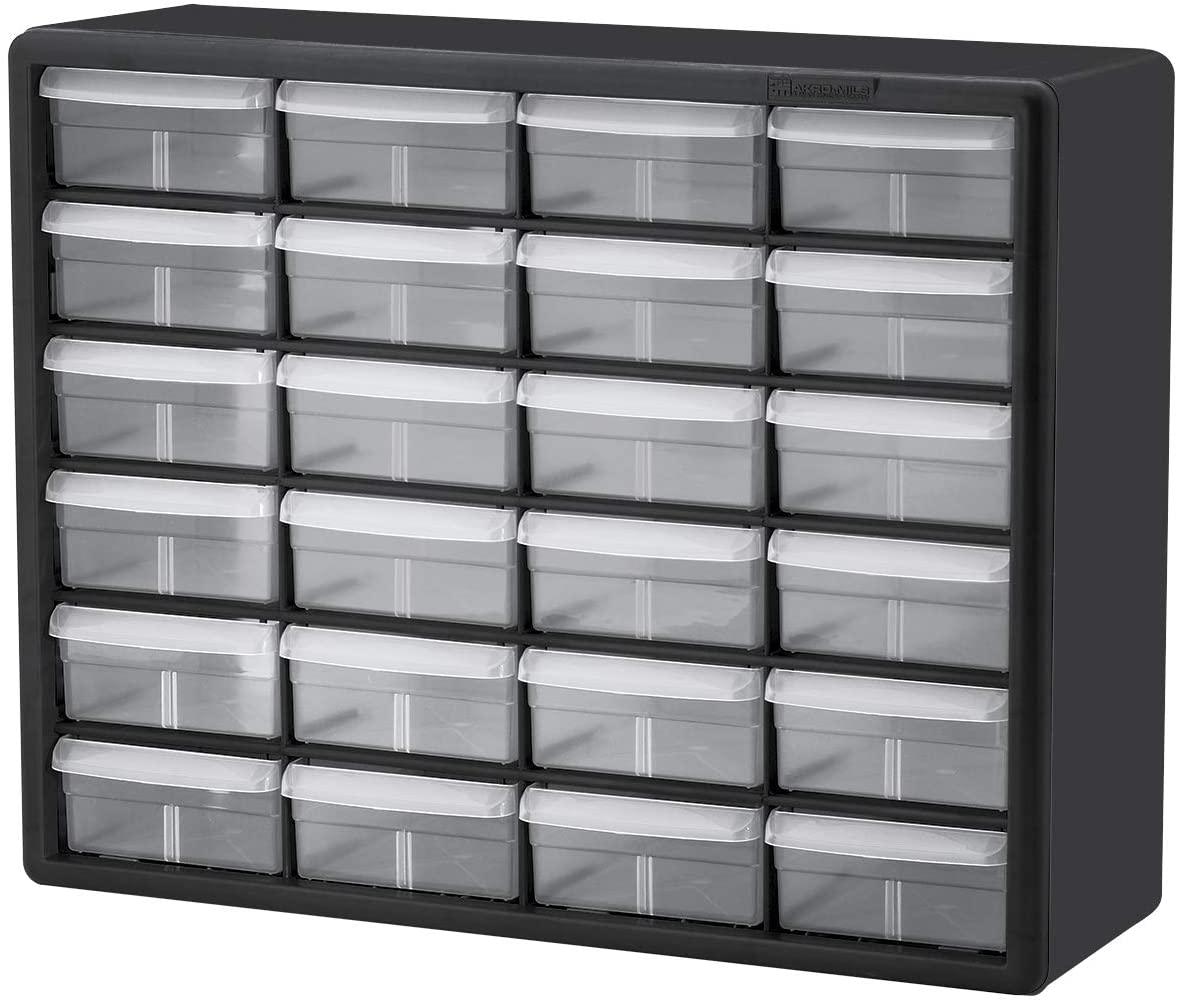 Akro-Mils 24 Drawer 10124 20-Inch W x 6-Inch D x 16-Inch H Black 1-Pack Plastic Parts Storage Hardware and Craft Cabinet,