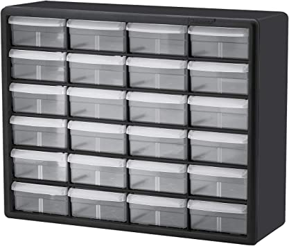 Akro-Mils 10724 24-Drawer Plastic Parts Storage Hardware and Craft Cabinet Pack of 4 Black 20-Inch by 16-Inch by 6-1//2-Inch