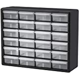 Akro-Mils 24 Drawer 10124, Plastic Parts Storage Hardware and Craft Cabinet, (20-Inch W x 6-Inch D x 16-Inch H), Black (1-Pac