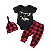FEITONG 3PcsToddler Baby Girls Boys Mama's Bestie Letter Rompers Jumpsuit Plaid Pants Hat Outfit Set