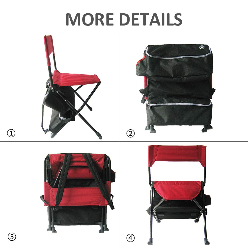 Zenree Folding Backpack Camping Chairs Portable Outdoor Sports Fishing Tripod Chair//Stool with Cooler Bag and Backrest for Traveling//Picnic//Hiking Red Zenithen