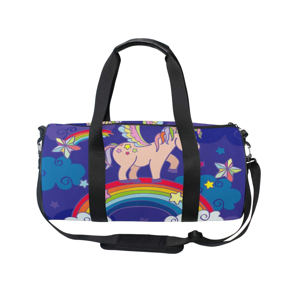 WIHVE Gym Duffel Bag Cute Cartoon Unicorn Rainbow Fairy Sports Lightweight Canvas Travel Luggage Bag