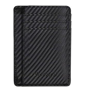 Wengerui Moda Tarjeta de Crédito Slim,RFID Bloqueo Monedero de Cuero,Mini Billetera para Tarjetas de Crédito (Ojo Negro)