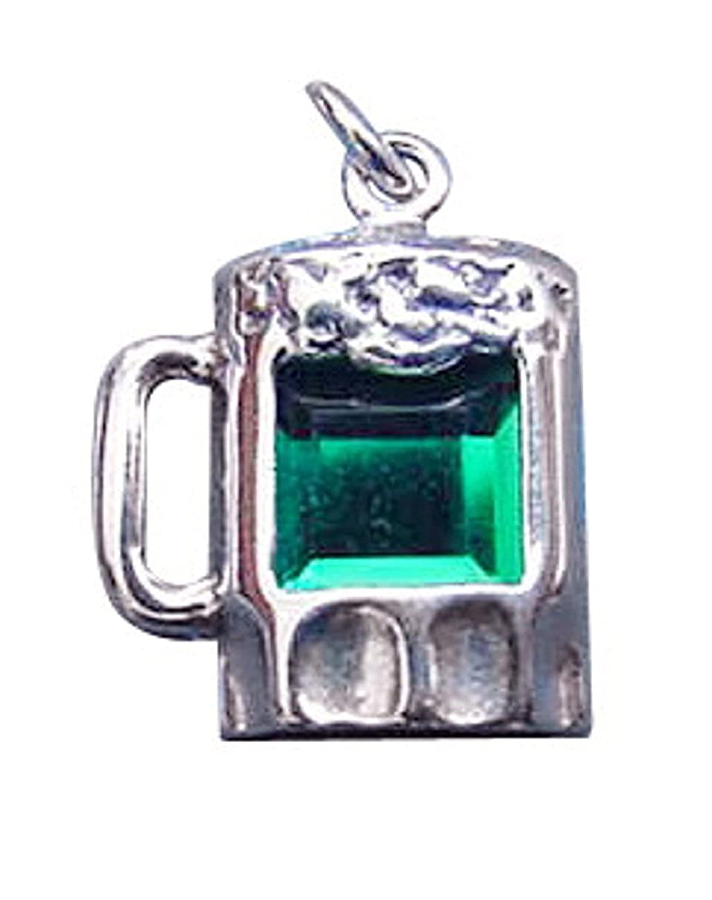 Sterling Silver Girls .8mm Box Chain Green Cubic Zirconia Mug Of Beer Pendant Necklace