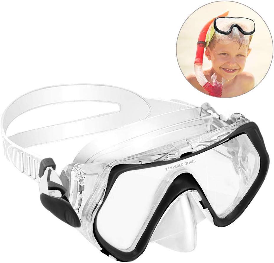 KOROSTRO Gafas de buceo para niños, gafas de buceo, gafas de buceo para niños, resistente al agua, a prueba de fugas, protección UV, correa de silicona ajustable, adecuado para 4-10 años