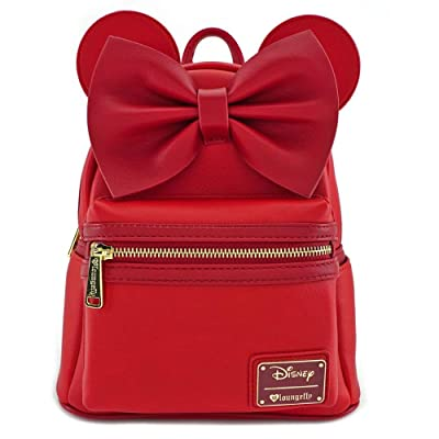 Loungefly Minnie Mouse Red Faux Leather Mini Backpack Standard, medium: Clothing