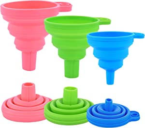 Kitchen Silicone Collapsible Funnel Set of 3,Small and Large,Flexible-Foldable-Cooking-Food-Grade Funnels for Filling Small or Mini Bottles,Perfume,Filling Capsules,Fry Oil Filter,Essential Oil,Spice