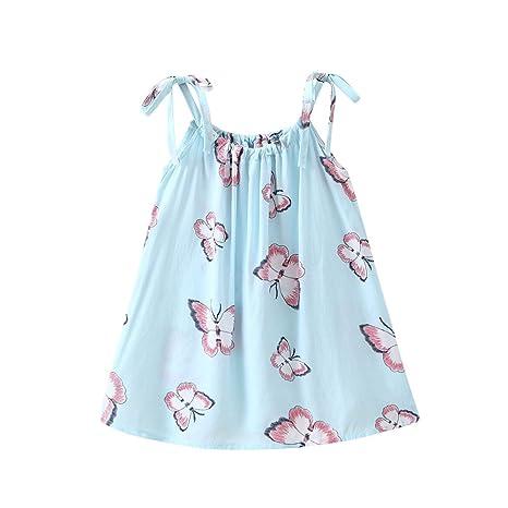 8ee908b3232d + abito senza maniche con stampa di farfalla di cartoni animati bimba  bambino vestito neonato bambino