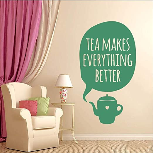 Ajcwhml Etiqueta de la Pared Etiqueta de Vinilo El té Hace Que Todo Sea Mejor Taza Arte de la Pared Habitación de diseño Dormitorio Familiar Sala de Estar Cocina 57X103 CM: Amazon.es: