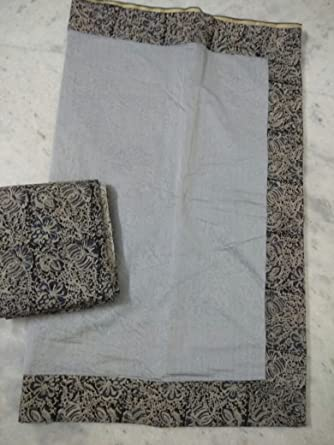 8935bc3bf258c9 Chanderi Silk Plain Saree With Kalamkari patch and Kalamkari Blouse piece
