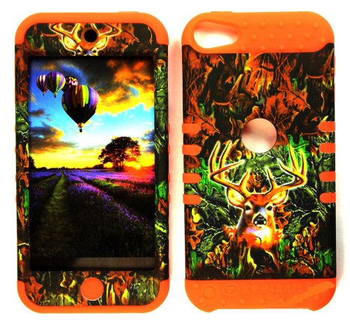 CellPhone Trendz Hybrid 2 in 1 Case Hard Cover Faceplate Skin Orange Silicone and Camo Mossy Hunter Deer Snap Protector for Apple iPod iTouch 5 (5th Generation)