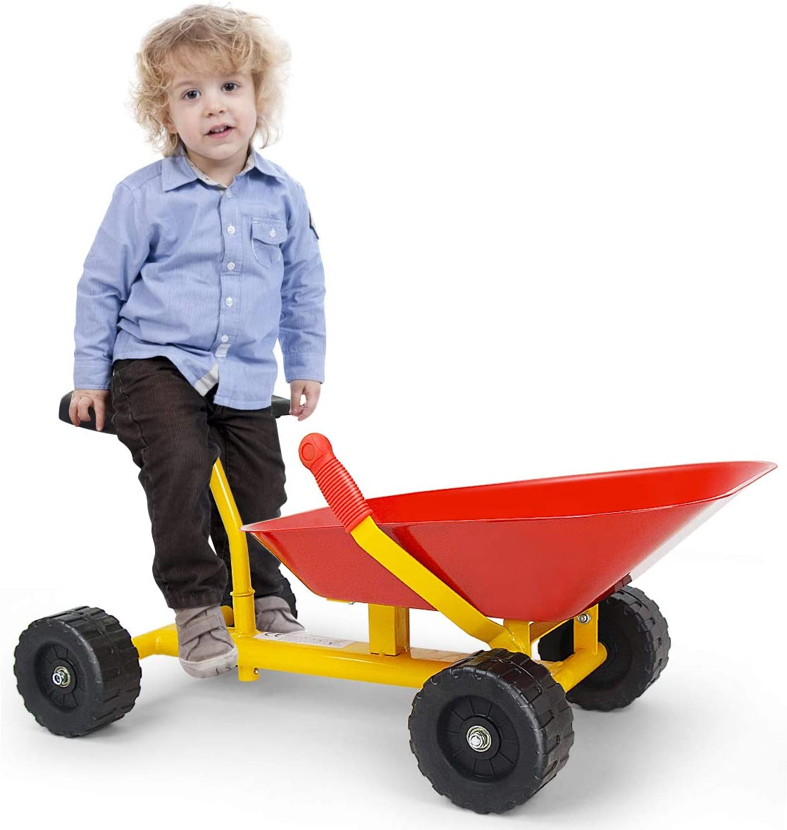 "Costzon 8"" Kids Ride-on Sand Dumper, Children Outdoor Sandbox Toy Wheelbarrow Sit On, Heavy Duty Steel Digging Scooper Excavator Crane with 4 Wheels, Metal Garden Play Tools for Boys & Girls (Red)"