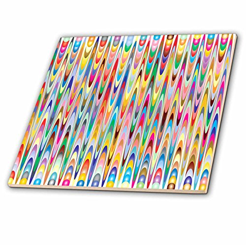 - 3dRose Abstract Patterns - Image of Bright Tight Multi Color Semi Circles - 12 Inch Ceramic Tile (ct_279922_4)