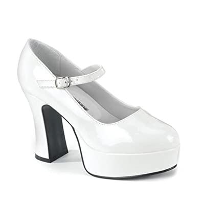 0bdd34a7a1b1 Women s WIDE WIDTH SHOES 4 Inch Sexy White Patent Mary Jane Platform Shoe  Size  7