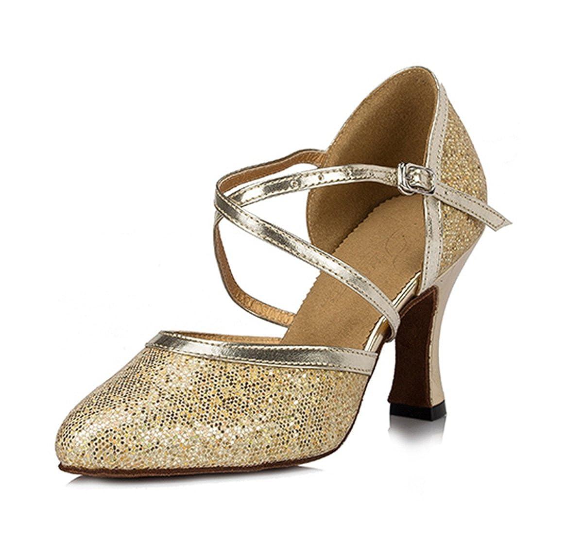 686038b621bab Miyoopark Women's Ankle Strap Glitter Buckle Synthetic Ballroom Salsa Latin  Dance Shoes
