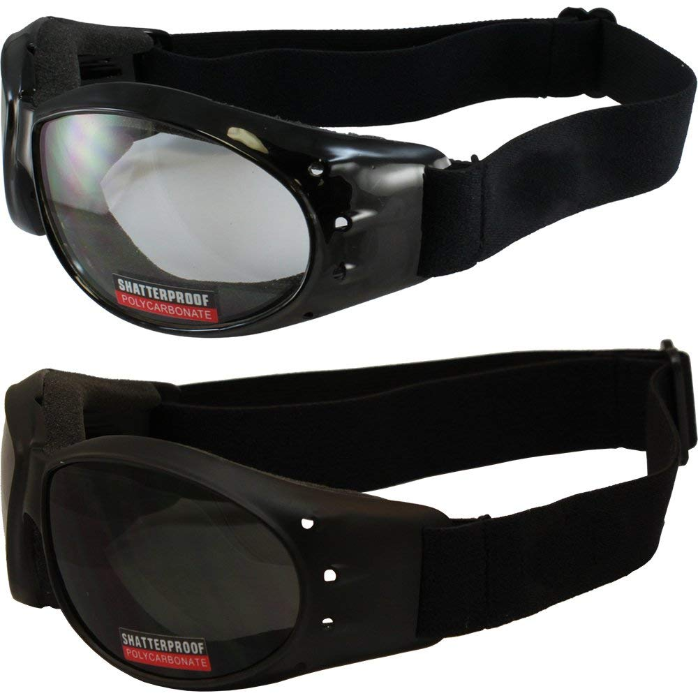 Red Baron Motorcycle Aviator 2 Goggles For Day and Night Use Super Dark Lens and Clear Lens by Global Vision