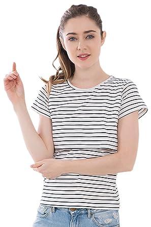 e4c51ed0b7ba3 KINDOYO Women's Mammy Maternity Breastfeeding T-Shirt Stripe Summer Short  Sleeved T-Shirt Pregnant
