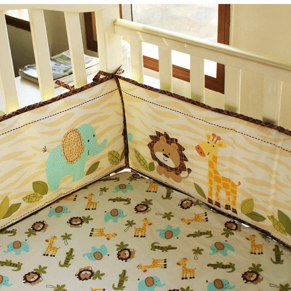 HUPO 7-Piece Crib Bedding Sets for Baby Girls with Bumper Pads,Bird /& Elephant Crib Set,Pink/& Purple Nursery Crib Set