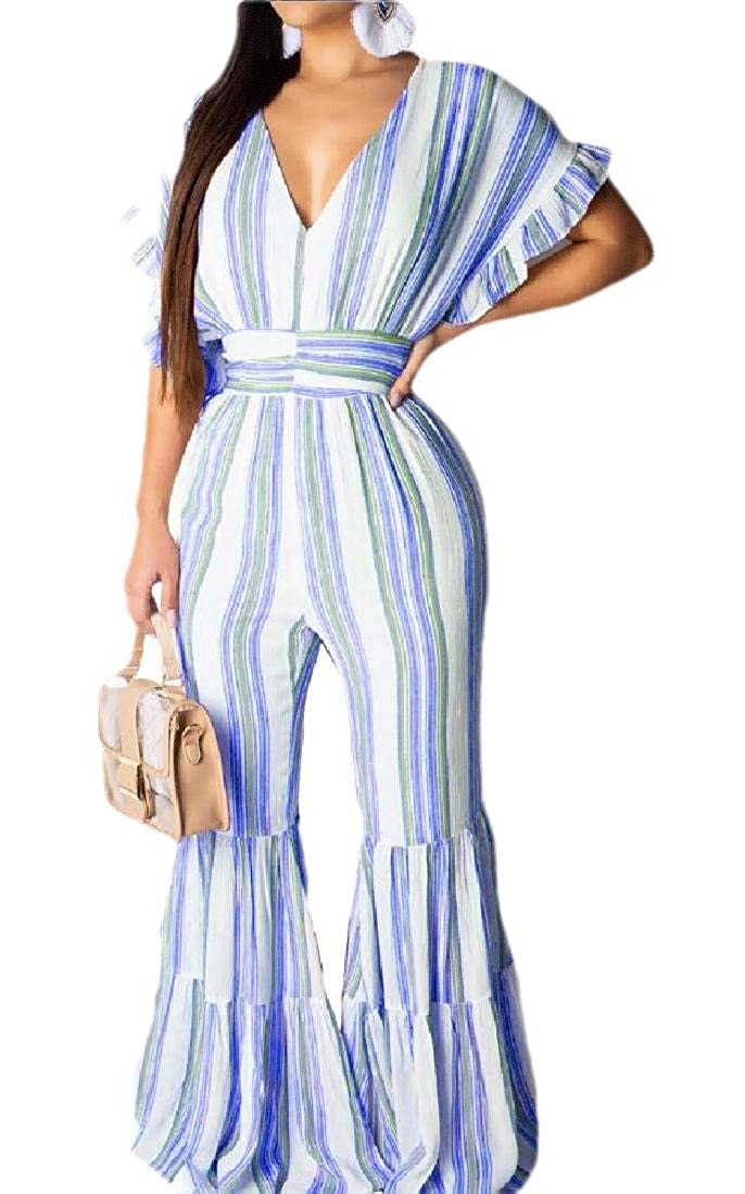 yibiyuan Womens Fashion V Neck Short Sleeve Jumpsuit Casual Wide Leg Striped Long Jumpsuit Romper