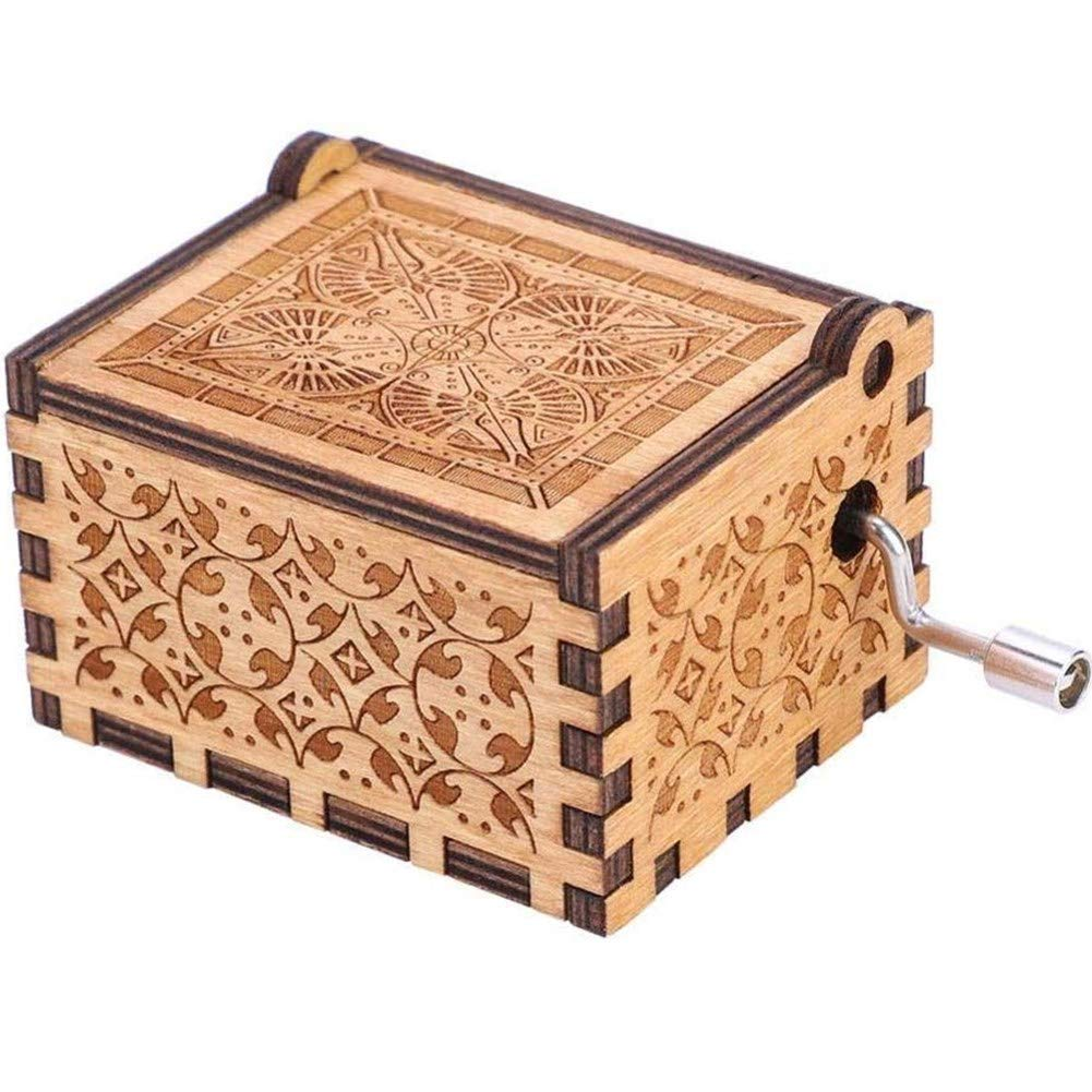 MEETWAY Hand Crank Music Box for Mom Gifts from Daughter You are My Sunshine Vintage Engraving Wooden Music Box