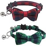 2Pcs 猫 首輪 リボン 蝶ネクタイ かわいい 軽い 調節可能 小型、中型 犬 猫用首輪 セーフティバックル付 鈴付 安全 ペット用品 布(赤+緑)