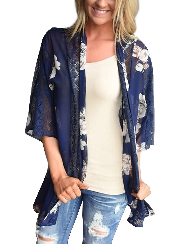 BB&KK Women's Sheer Chiffon Blouse Loose Tops Kimono Floral Print Cardigan