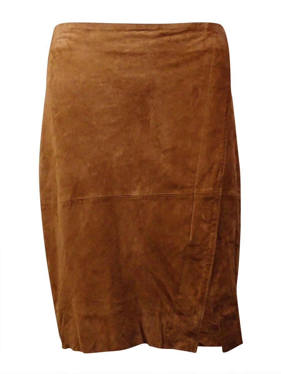 RALPH LAUREN Lauren Women's Goat Suede Envelope Skirt (16, Moccasin)