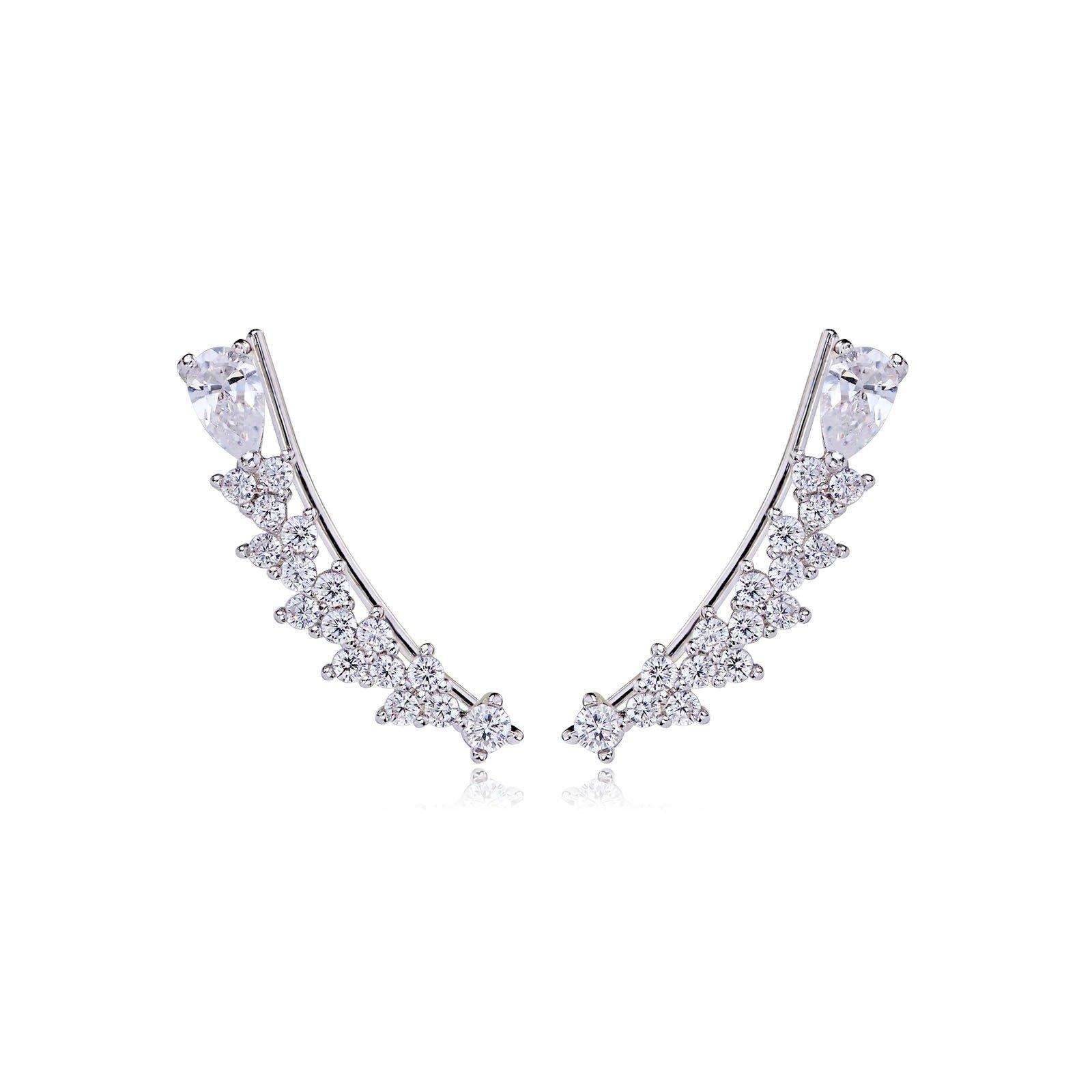 Ear Cuff Earring for Women - Cartilage Climber Earrings For Pierced Ears - Zircon Stud Earring With Austrian Crystals