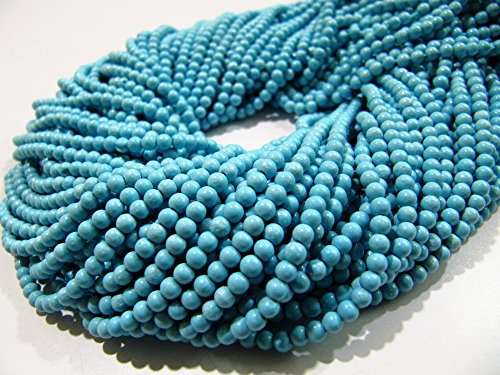FIVE STRINGS- Synthetic Turquoise Beads / Smooth Round Shape Turquoise Beads / Size 2 mm / Sold per Strand 13 to 14 inch long/ Gemstone Beads