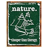 Wood-Framed Nature is Cheaper Than Therapy Metal Sign, Camping, Outdoors, Canoe for kitchen on reclaimed, rustic wood For Sale