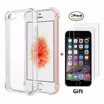 Funda iPhone SE,Funda iPhone 5 5S Fanxwu Case Ultrafina Transparente Cristal Suave TPU Silicona [2*Película de Cristal Templado] Diseño de Cojín de ...