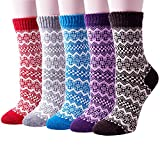 Pack of 5 Womens Vintage Style Thick Wool Warm Winter Crew Socks,Mixed Color a,One Size