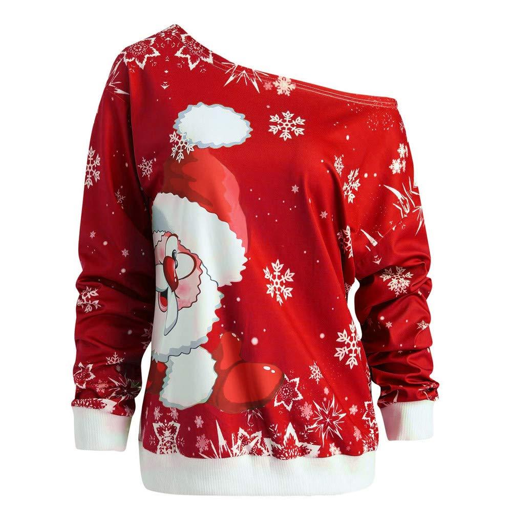 Yvelands Liquidation Femme l'hiver De NoëL Imprimé PèRe NoëL Col Oblique ÉPaule sans Bretelles Manches Longues en Vrac Les Loisirs Top T-Shirt