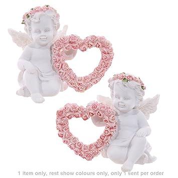 Pink Rose Heart Swing Love Cherub Angel Couple Ornament Figurine Statue Gifts