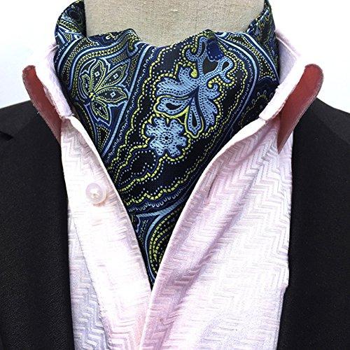 Silk Ascot (Men's Cravat Self Tie Paisley Jacquard Woven Luxury Ascot Color 18)
