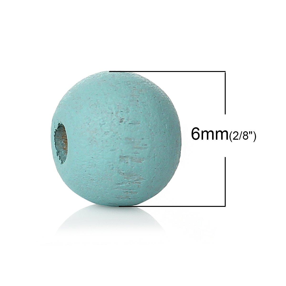 6/mm D SiAura Material 1000/Unidades Redondas Perlas de Madera Color Azul Orificios 2,1/mm