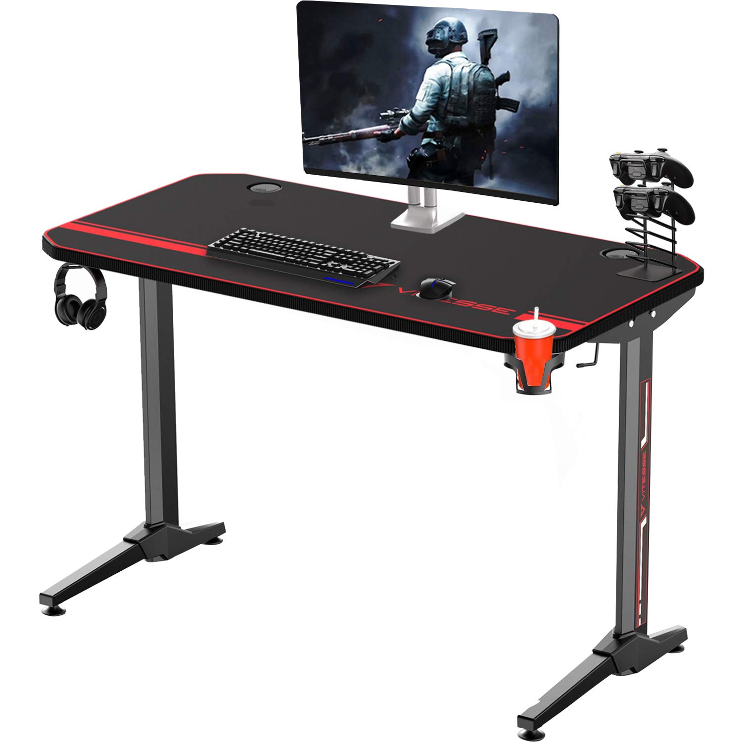 Vitesse 47 inches Gaming Desk Racing Style Computer Table with Free Mouse pad, T-Shaped Professional Gamer Workstation PC Office Desk with Cup Holder & Headphone Hook