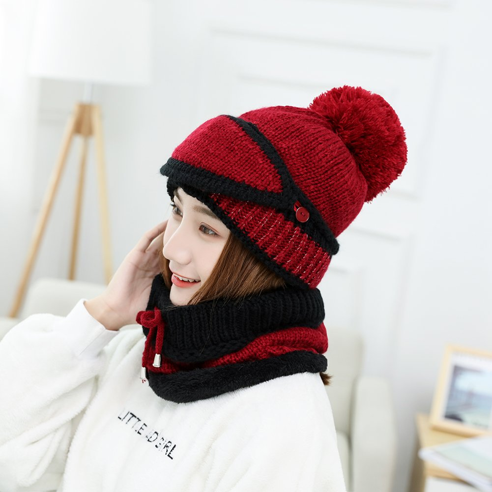 Women 3Pcs Winter Hat Scarf Mask Set Warm Knit Slouchy Beanie Hat Wool Ski Cap Infinity Scarf