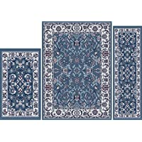 Blue/Ivory Traditional Vine Border Persian 3PC Rug Set - Area Rug (5' x 7'), Runner (2' x 5'), Accent Mat (2' x 3')