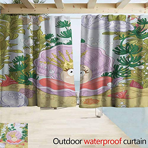 AndyTours Rod Pocket Curtains,Pearls Cute Princess Pearl in Clam with Crown Tiara Reef Cartoon Print Baby Girl Nursery Print,Darkening Thermal Insulated Blackout,W55x63L Inches,Multi