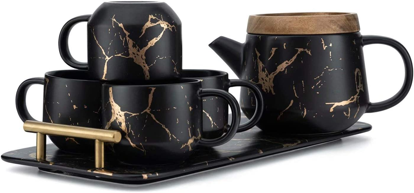 Taimei Teatime Porcelain Tea Set with infuser 1 Tea Pot with 4 Tea Cups Minimalist Style for Office and Home 25fl oz Black Gold 7.6 fl oz