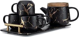 Taimei Teatime Ceramic Tea Set, Modern Tea Cup Set (7.6 fl oz) with Tea Pot (25 fl oz) and Infuser, Set for 4 Tea Service Sets - Marble Gold and Black