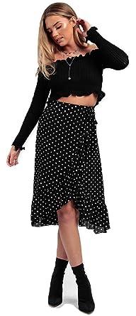 a80490979 Ladies Tie Leopard Print Wrap Frill Midi Ruffle Skirt UK Size 6-14 (Black