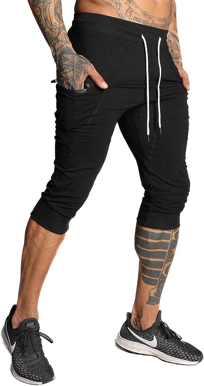 FIRSTGYM Mens Casual Shorts 3/4 Jogger Pants Workout Training Jogger Capri Pants