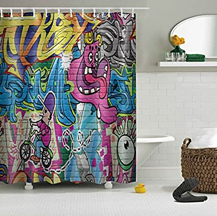 LB Cool Street Art Graffiti On Brick Wall Shower Curtains For Bathroom Modern Contemporary Abstract