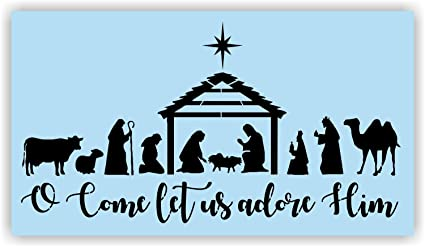 Amazon Christmas Nativity Scene Stencil For Painting Wood Signs