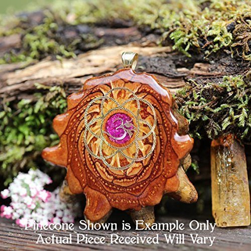 Glowing Crushed Sugilite with Gold Seed of Life + Om Third Eye Pinecone Pendant by Third Eye Pinecones