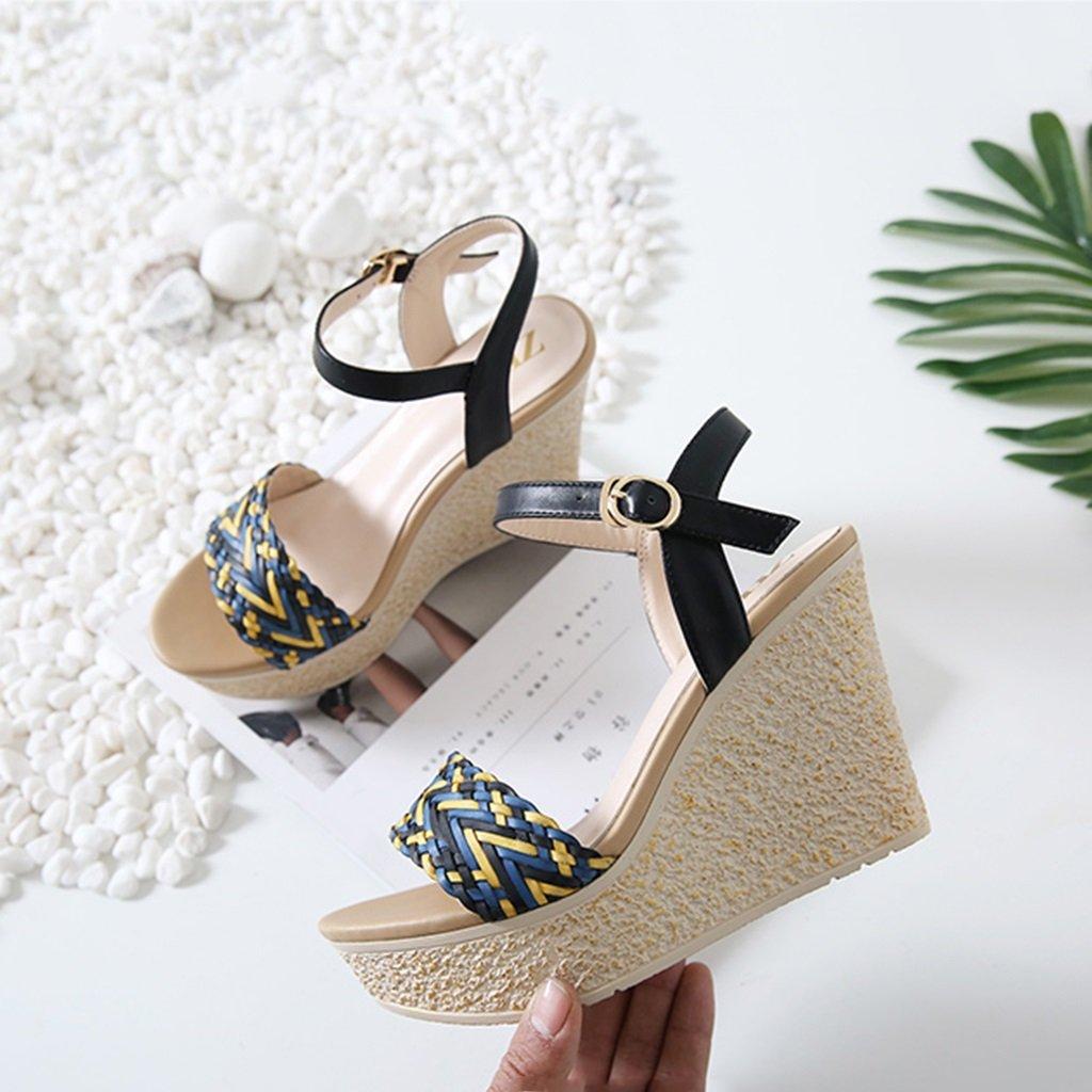 KaiGangHome Sandalen hochhackige Sommer Piste Sandale wilde hochhackige Sandalen Schnalle Schuhe flache einfache Schuhe Absatzhöhe: 10,5 cm (Farbe : schwarz, Größe : 39) - 0e872e