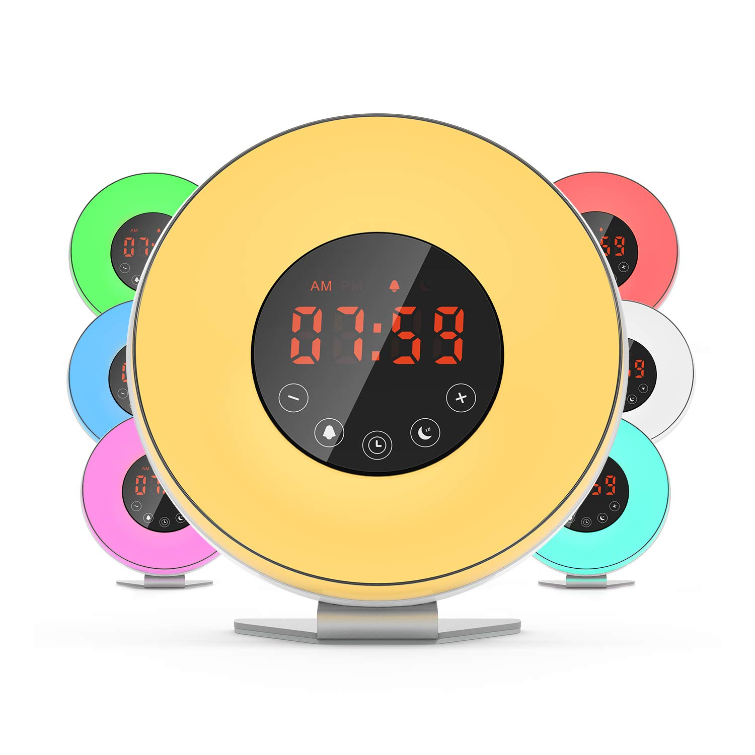 Dr.Meter Sunrise Alarm Clock - Digital LED Night Light Clock with 7 Color Switch and FM Radio for Bedrooms Colorful (JW-6639F)
